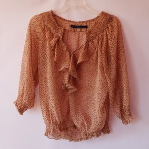 ZARA ruffled chiffon 3/ sleeve blouse size small.